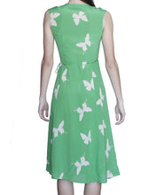 Lovina 100% Silk Wrap Dress, Green-Butterflies - Ondululations womens silk dresses