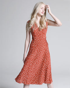 Lovina Wrap Dress, Rust-Polka Dots - Ondululations womens silk dresses