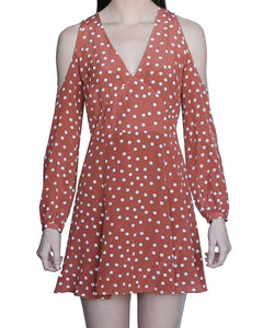 Bridget 100% Silk Cold Shoulder Dress, Rust-Polka Dots - Ondululations womens silk dresses