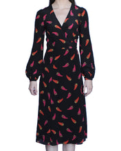 Margot 100% Silk Wrap Dress, Black-Peppers - Ondululations womens silk dresses