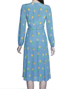 Margot 100% Silk Wrap Dress, Sky-Pineapples - Ondululations womens silk dresses
