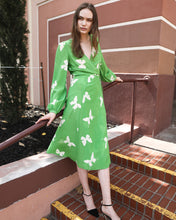 Margot 100% Silk Wrap Dress, Green-Butterfllies - Ondululations womens silk dresses