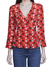 Adeline Wrap Top, Red-Flair - Ondululations womens silk dresses