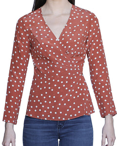 Adeline 100% Silk Wrap Top, Rust-Polka Dots - Ondululations womens silk dresses