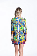Crinkle Knit Women's Long Tunic Pullover, Transfer Print - Greece - Ondululations womens silk dresses