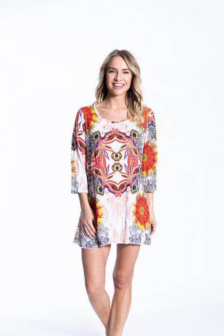 Crinkle Knit Women's Long Tunic Pullover, Transfer Print - Istanbul - Ondululations womens silk dresses