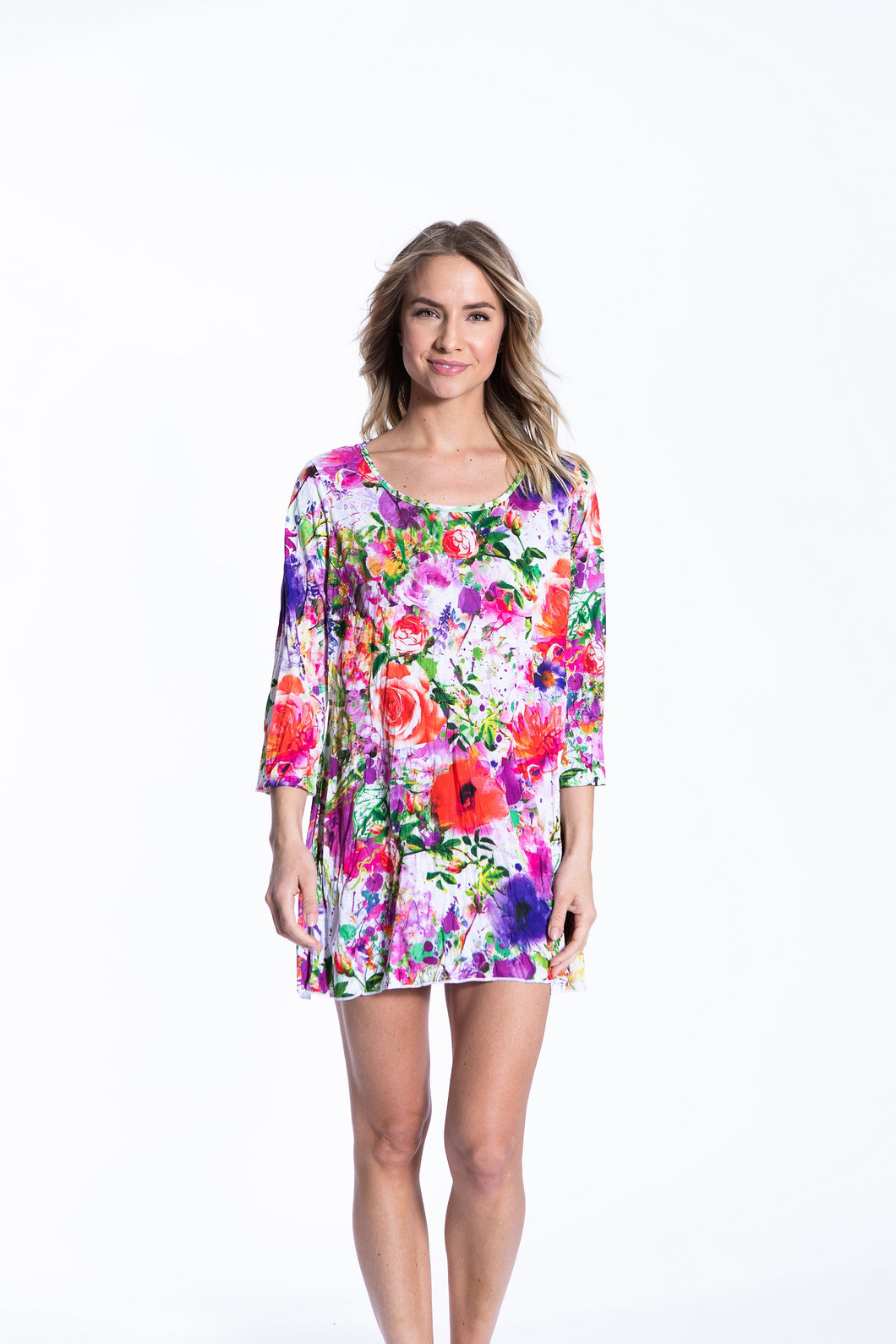 Crinkle Knit Women's Long Tunic Pullover, Transfer Print - Summer Flowers - Ondululations womens silk dresses