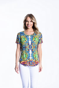 Crinkle Knit Women's Round Neck Short Sleeve Pullover Shirt, Transfer Print - Greece - Ondululations womens silk dresses