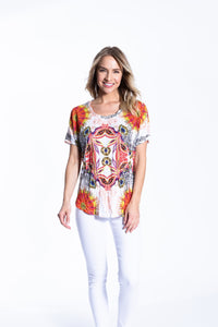 Crinkle Knit Women's Round Neck Short Sleeve Pullover Shirt, Transfer Print - Istanbul - Ondululations womens silk dresses