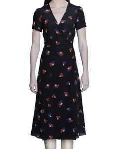 Cora 100% Silk Midi Dress, Black-Masks - Ondululations womens silk dresses