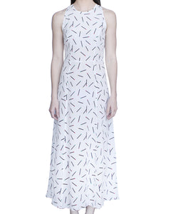Eleanor 100% Midi Sleeveless Dress, White-Matches - Ondululations womens silk dresses