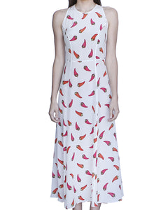 Eleanor 100% Silk Midi Sleeveless Dress, White-Peppers - Ondululations womens silk dresses