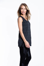 Crinkle Knit Women's Long Tank - Black/Gray - Ondululations womens silk dresses