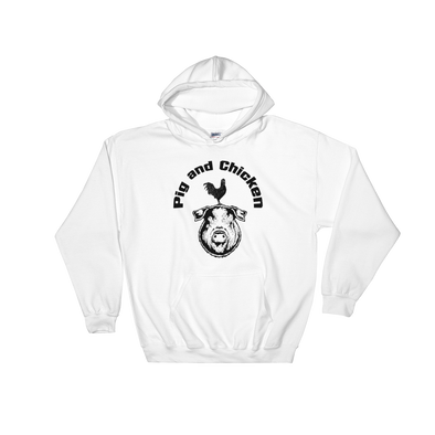Chicken On Pig | Black Ink | Hooded Sweatshirt