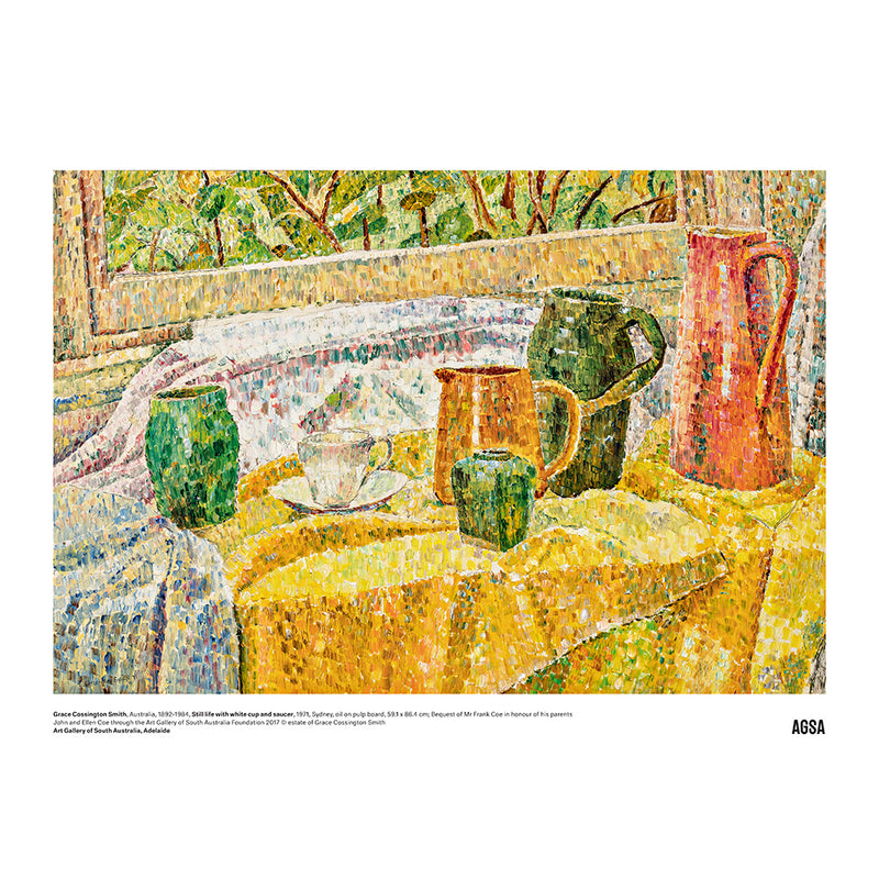 Still life with white cup and saucer by Grace Cossington Smith - A3 Print
