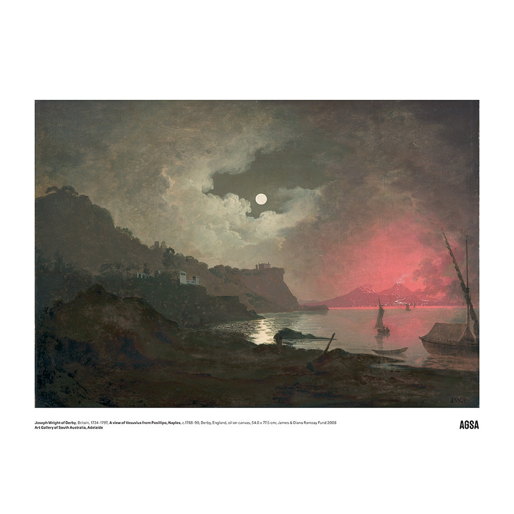 A view of Vesuvius from Posillipo, Naples by Joseph Wright of Derby - A3 Print