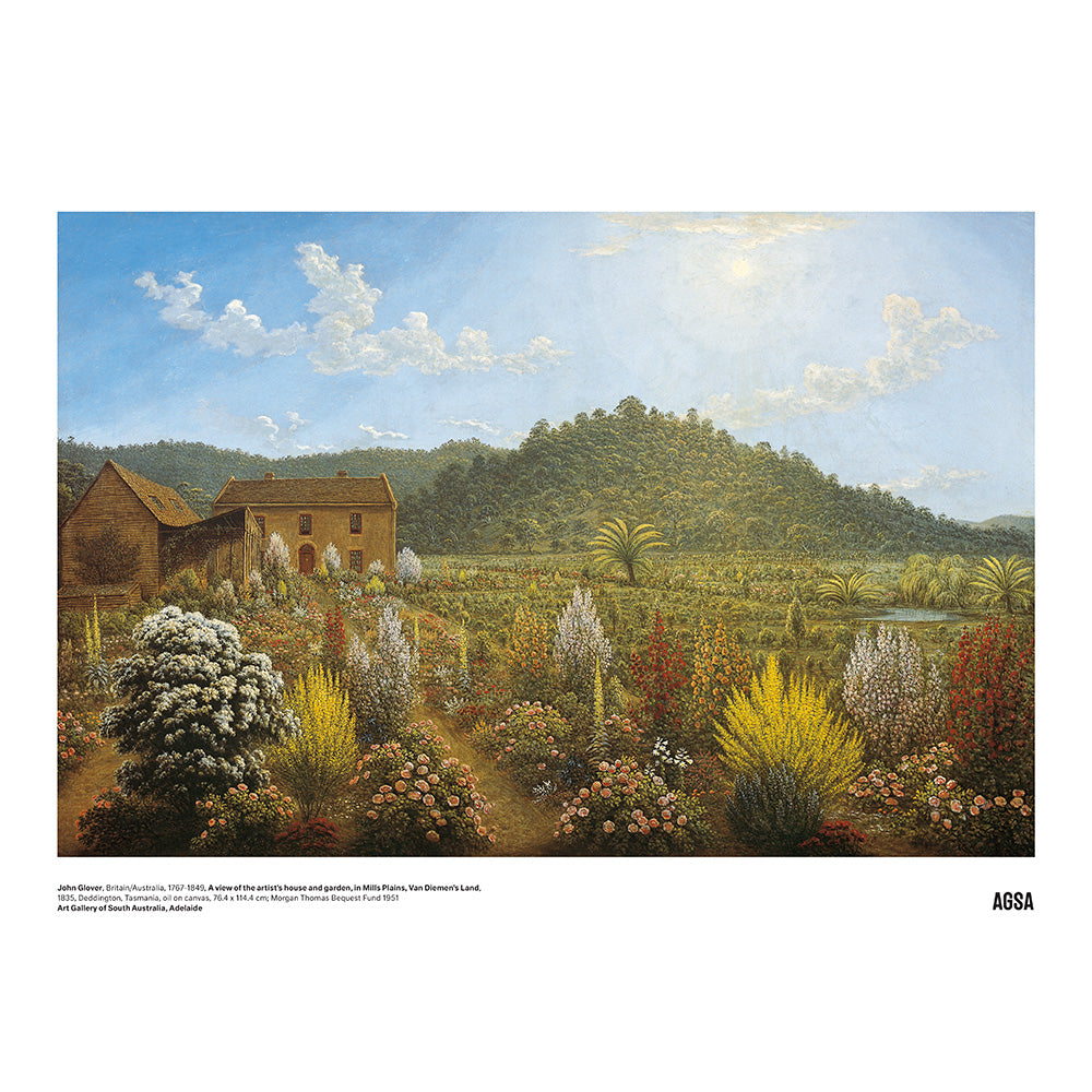 View of the artist's house and garden by John Glover - A3 Print