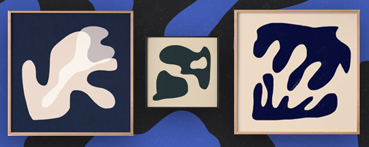 Organic shapes on blue-toned backgrounds by artist Delta Venus on Maker's Mrkt