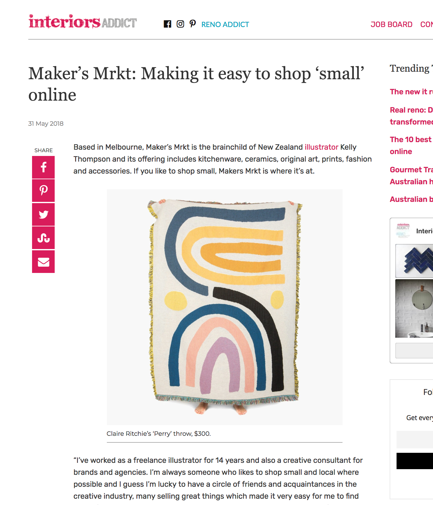 Maker's Mrkt Interiors Addict Press Feature PR In the Press Makers Market