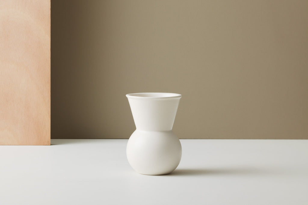 Gidon Bing white ceramic Bulb Vase on Maker's Mrkt Melbourne, Makers Market