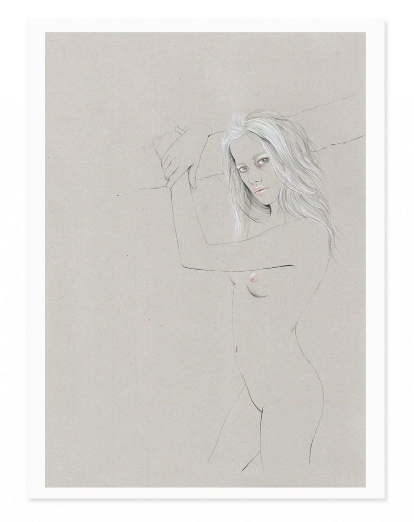Beautiful girl nude pencil illustration Zippora Seven by Kelly Thompson and Dreke Henderson Makers Market Melbourne maker's Mrkt art print