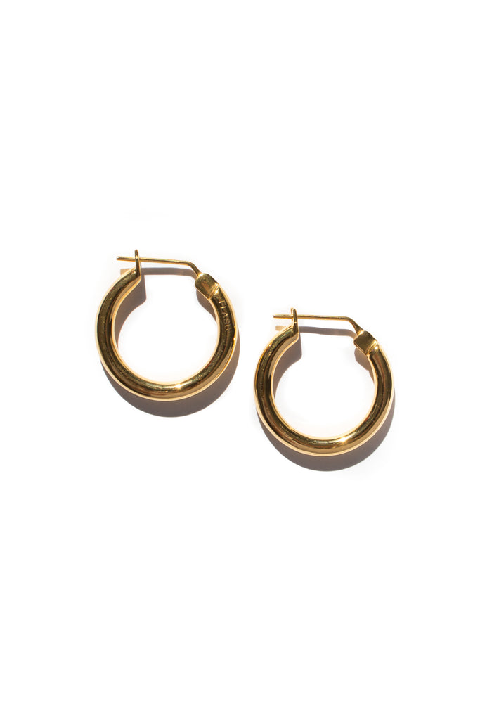 gold plated brass doozie hoop earrings by flash jewellery on Makers Market Melbourne Makers Mrkt