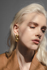 Blonde pretty model wearing Flash jewellery Double dome earring in gold available on Maker's Mrkt Makers Market melbourne
