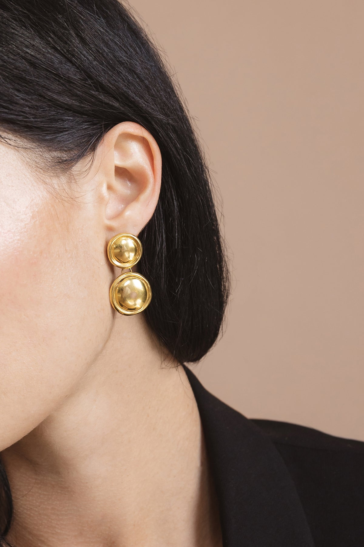 Flash jewellery Double dome earring in gold available on Maker's Mrkt Makers Market melbourne