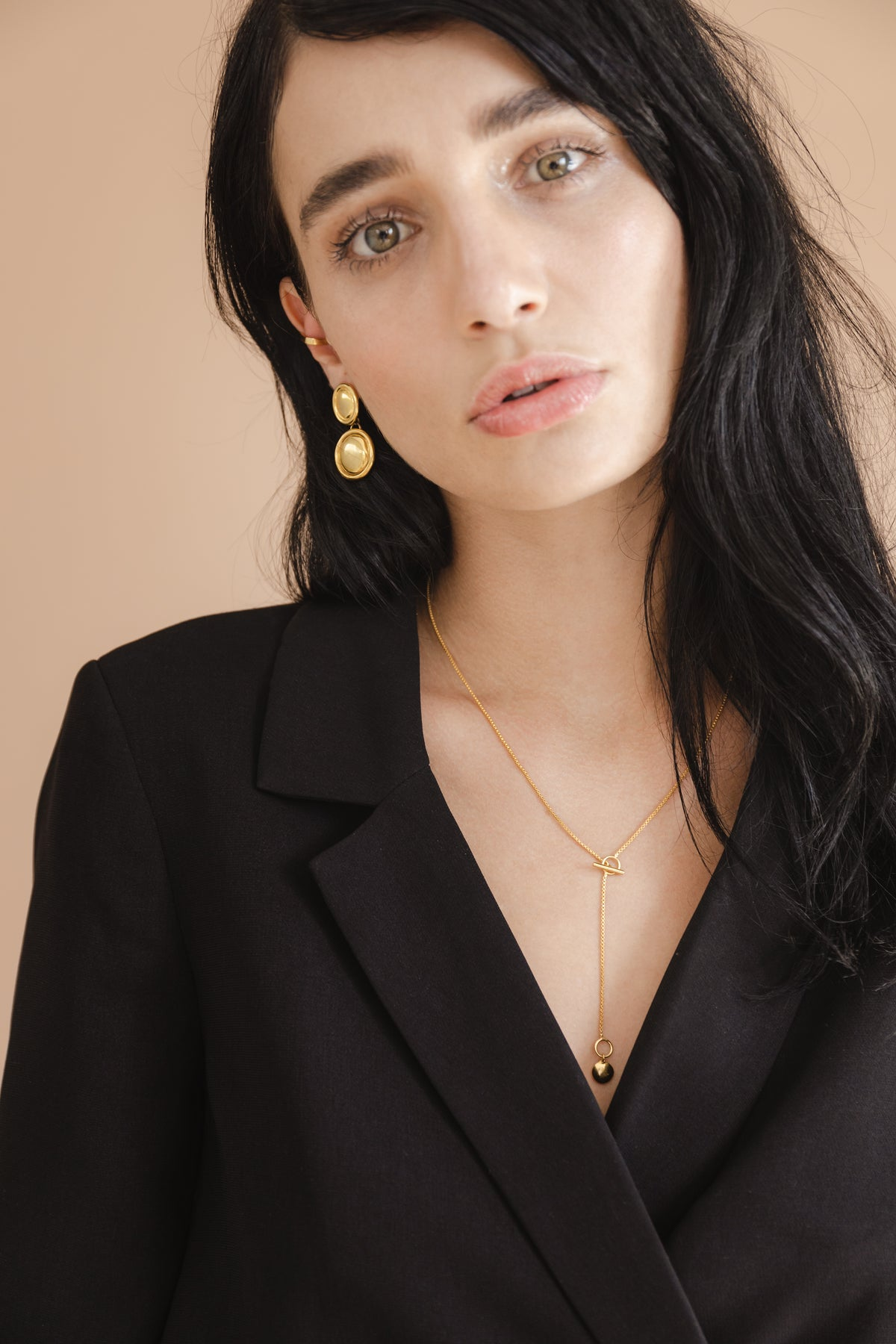 Brunette pretty model wearing Flash jewellery Double dome earring in gold available on Maker's Mrkt Makers Market melbourne
