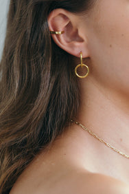 gold plated brass hook hoop earrings by flash jewellery on Makers Market Melbourne Makers Mrkt