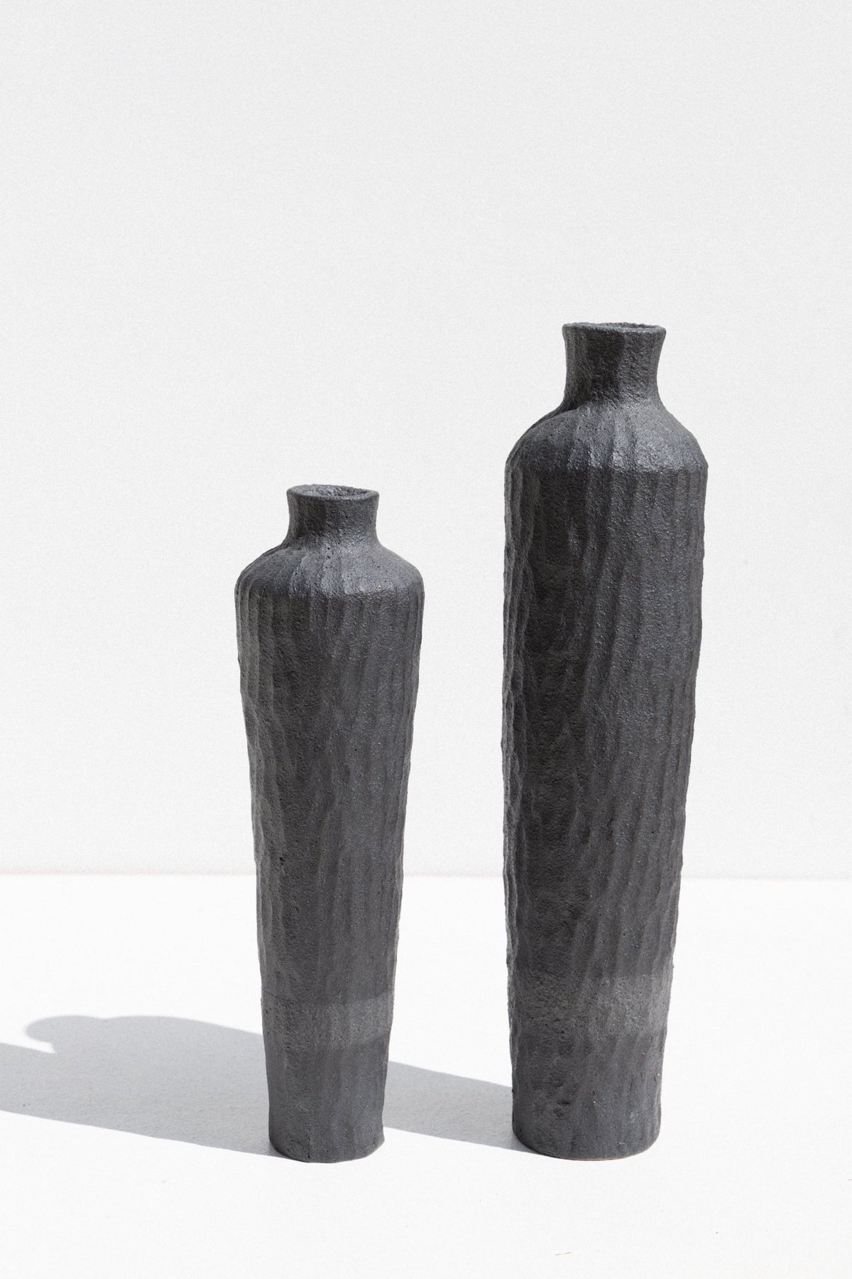 Kerryn Levy Charcoal stoneware Naked Clay Vase in Size Large and medium