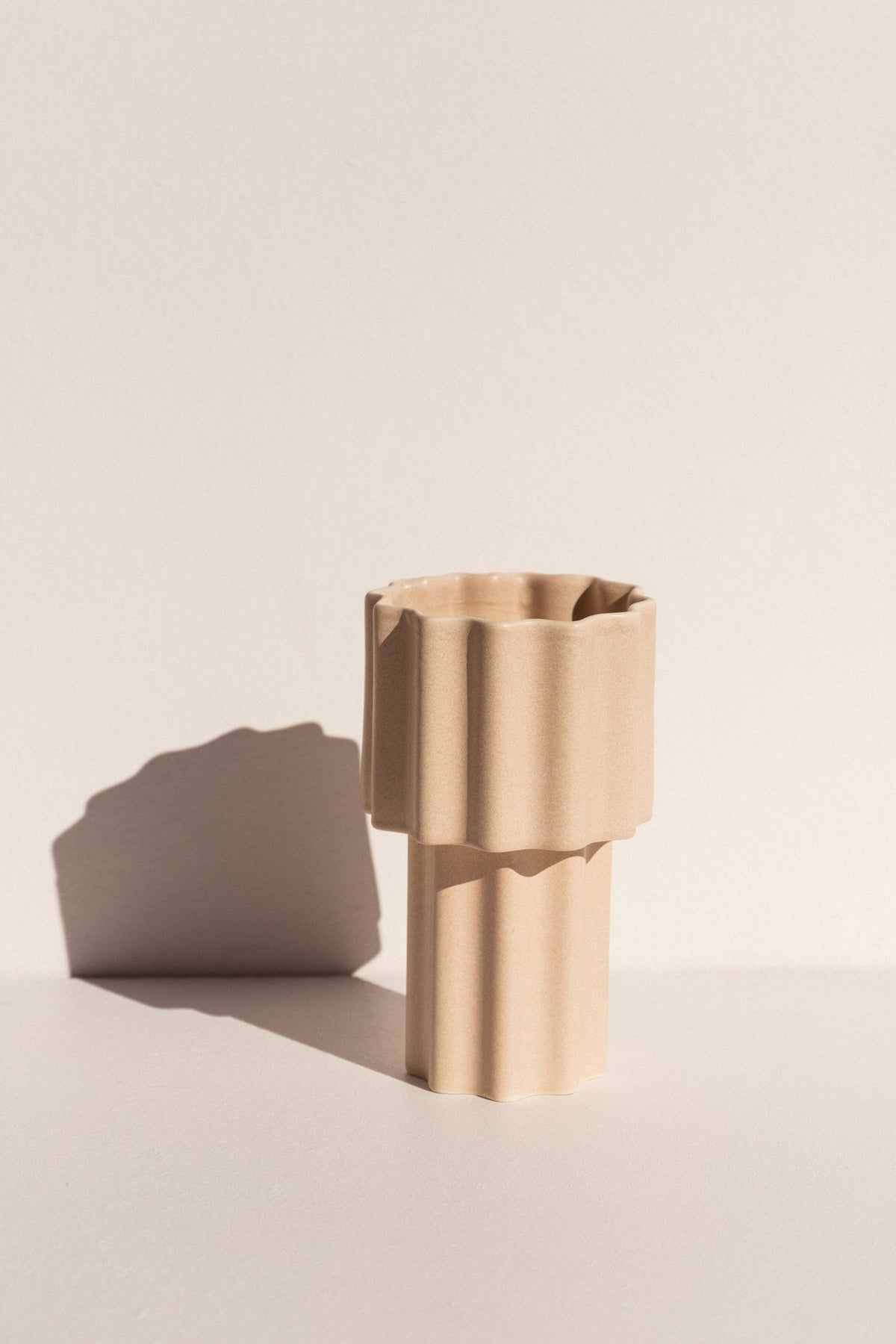 Ella Reweti Tall Tapered Vase in buff colour colour on Makers' Mrkt Makers Market Melbourne