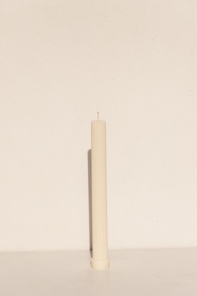 Black Blaze Pillar soy candle in white. Makers Market Makers' Mrkt Melbourne