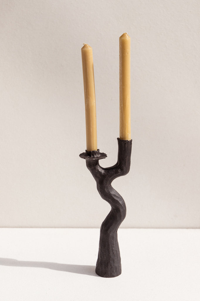 Kerryn Levy handbuilt ceramic candle holders in black on Makers' Mrkt Makers market Melbourne