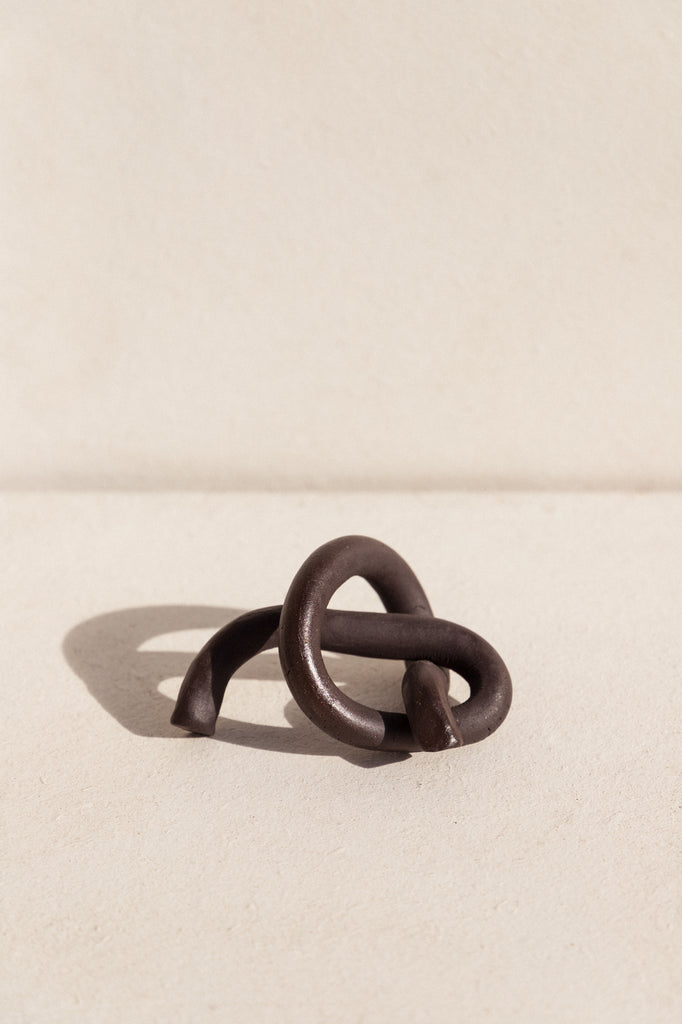 Black Knotted ceramic sculpture by Asobimasu Clay on Makers' Mrkt , Makers Market Melbourne