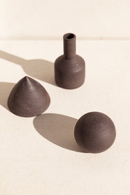 asobimasu clay ceramic black trio of sculptural objects on makers market Makers Mrkt Melbourne