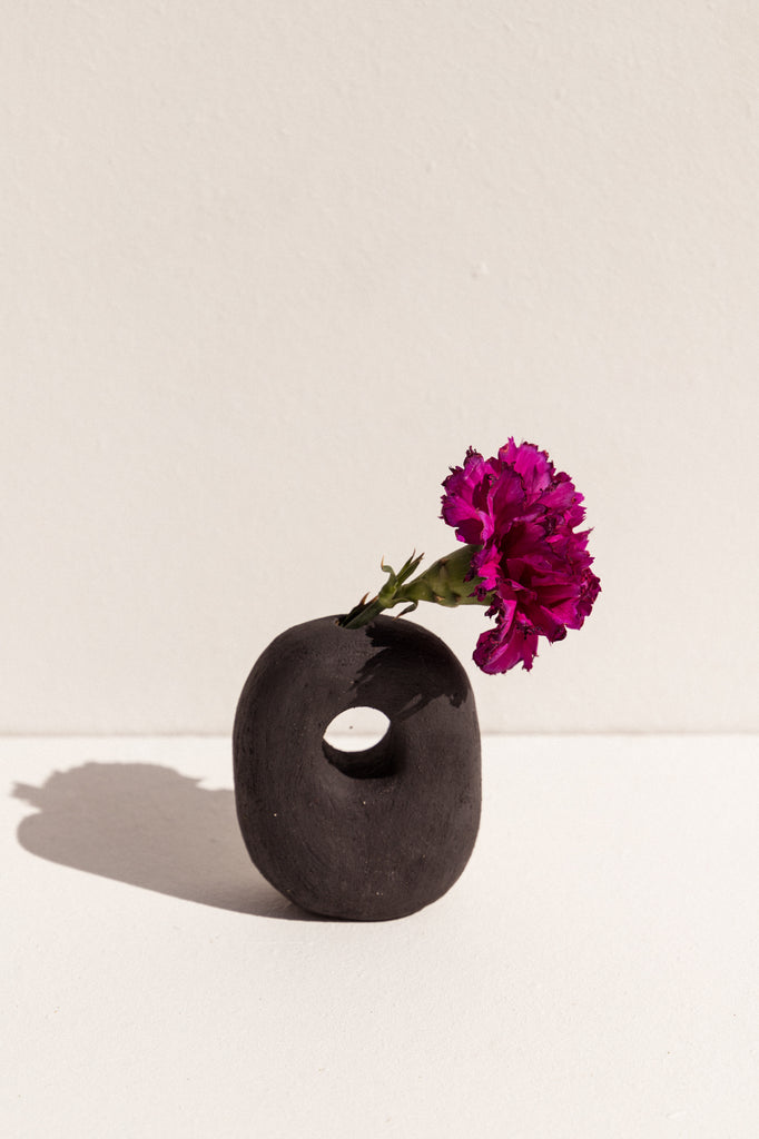 Deborah Sweeney matte black handbuilt ceramic vase on Makers' Mrkt. Makers Market Melbourne