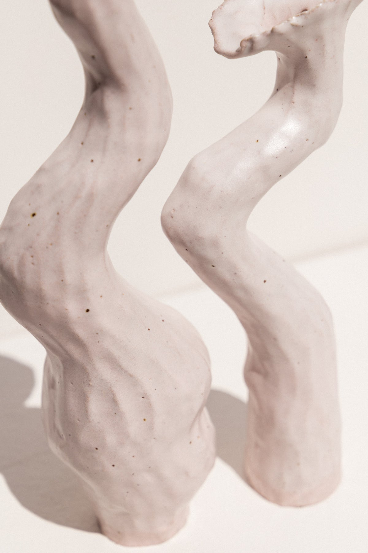 Kerryn Levy handbuilt Asymmetry pair of vessels on Makers' Mrkt Makers market Melbourne