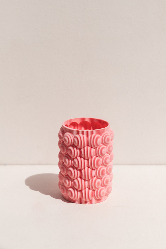 UAU Project pink S Vase 3D printed PLA candle holder on Makers' Mrkt , makers market Melbourne
