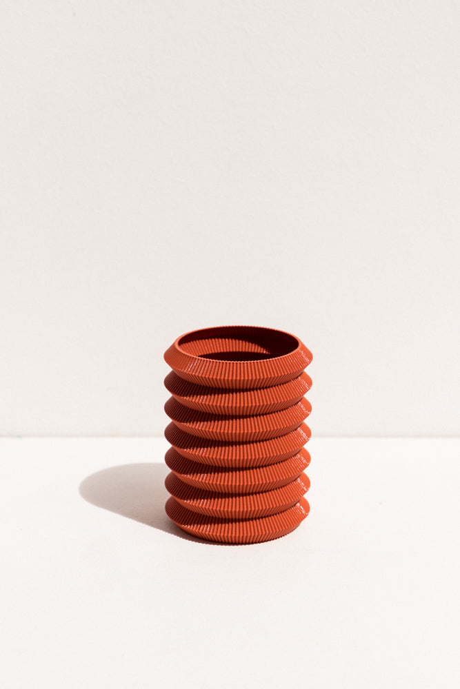 UAU Project rust S Vase 3D printed PLA candle holder on Makers' Mrkt , makers market Melbourne