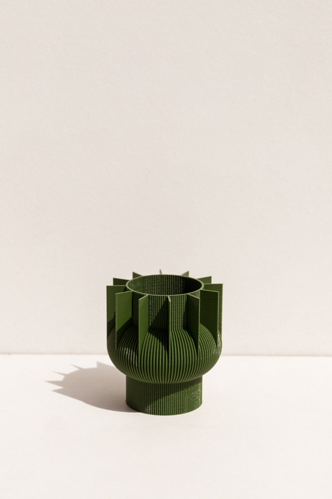 UAU Project Khaki S Vase 3D printed PLA candle holder on Makers' Mrkt , makers market Melbourne