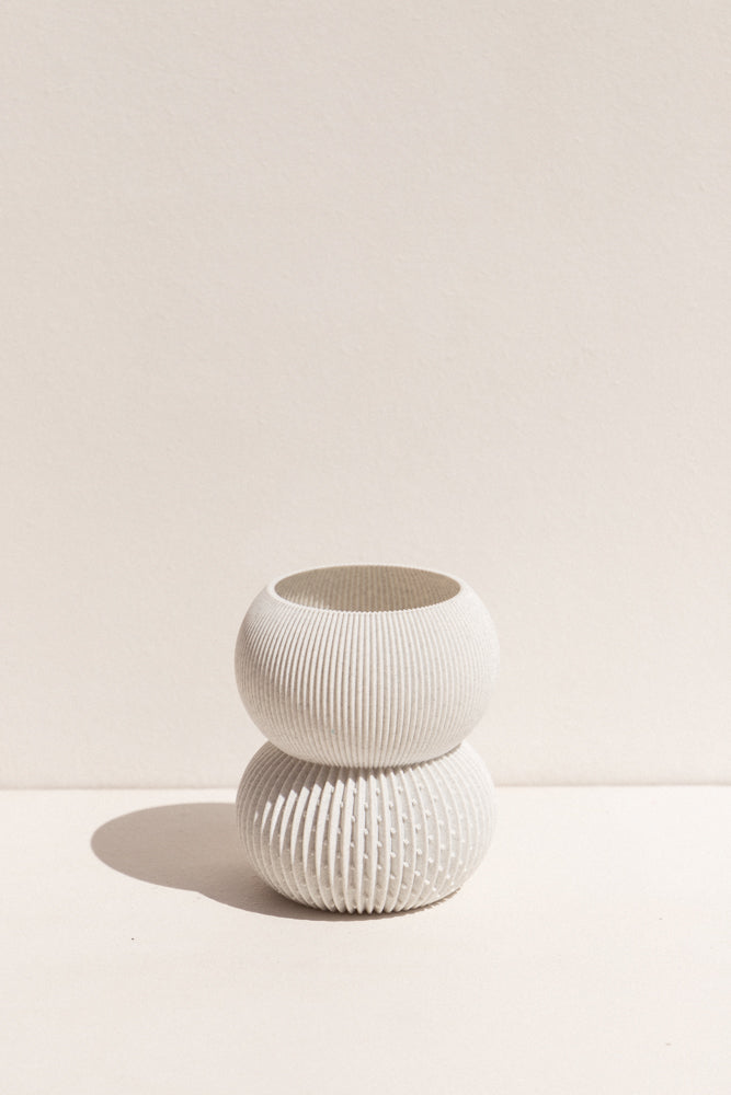 UAU Project grey S Vase 3D printed PLA candle holder on Makers' Mrkt , makers market Melbourne