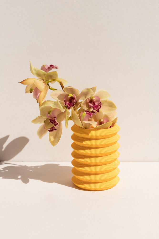 UAU Project yellow S Vase 3D printed PLA candle holder on Makers' Mrkt , makers market Melbourne
