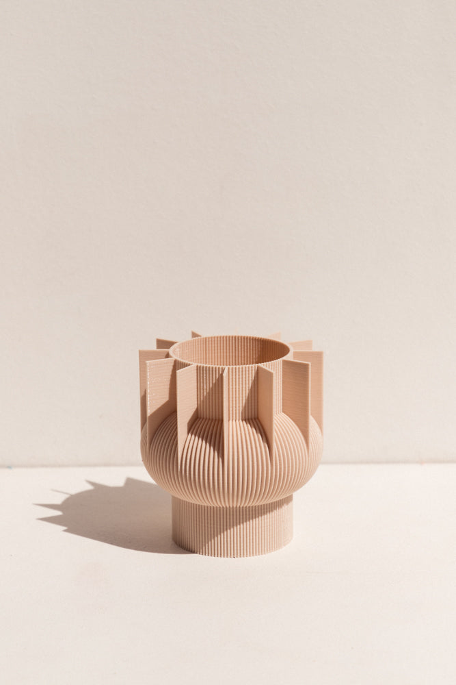 UAU Project beige S Vase 3D printed PLA candle holder on Makers' Mrkt , makers market Melbourne