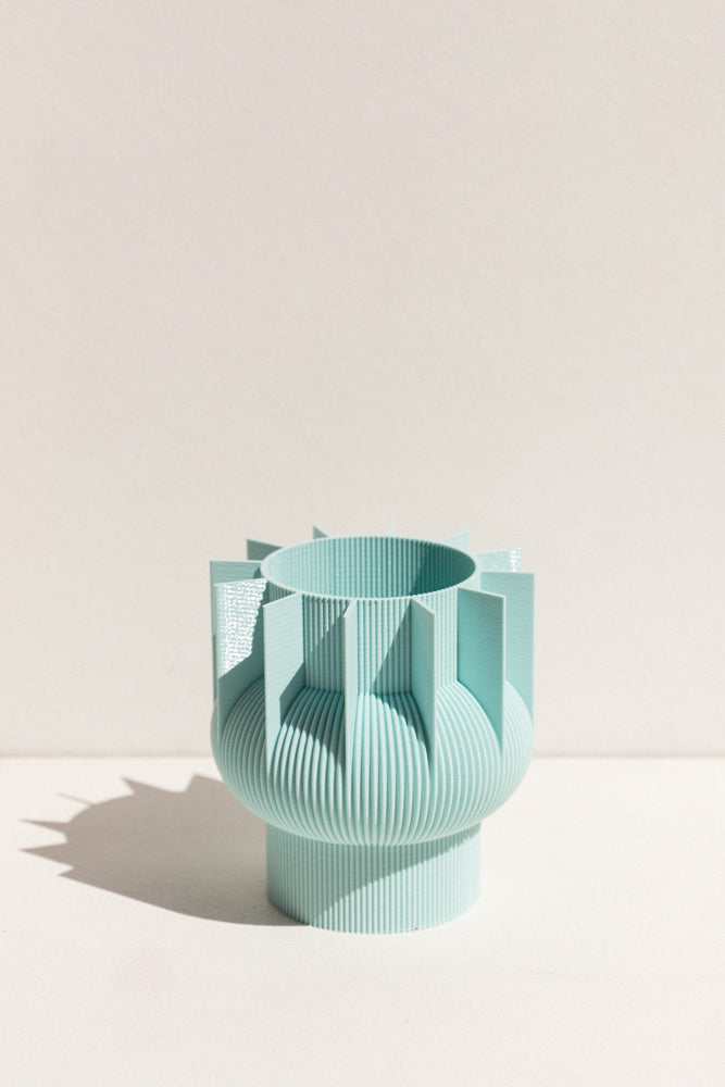UAU Project ice blue S Vase 3D printed PLA candle holder on Makers' Mrkt , makers market Melbourne