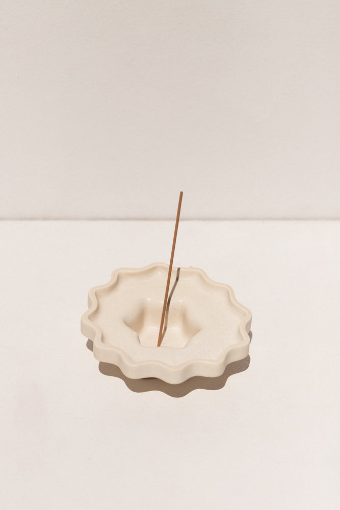 Ella Reweti small ceramic incense holder in chalk colour on Makers' Mrkt Makers Market Melbourne
