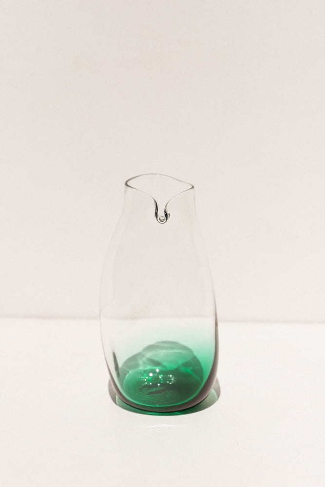 Lope Home emerald glass Pitcher handmade in Melbourne on Makers' Mrkt, Makers market Melbourne