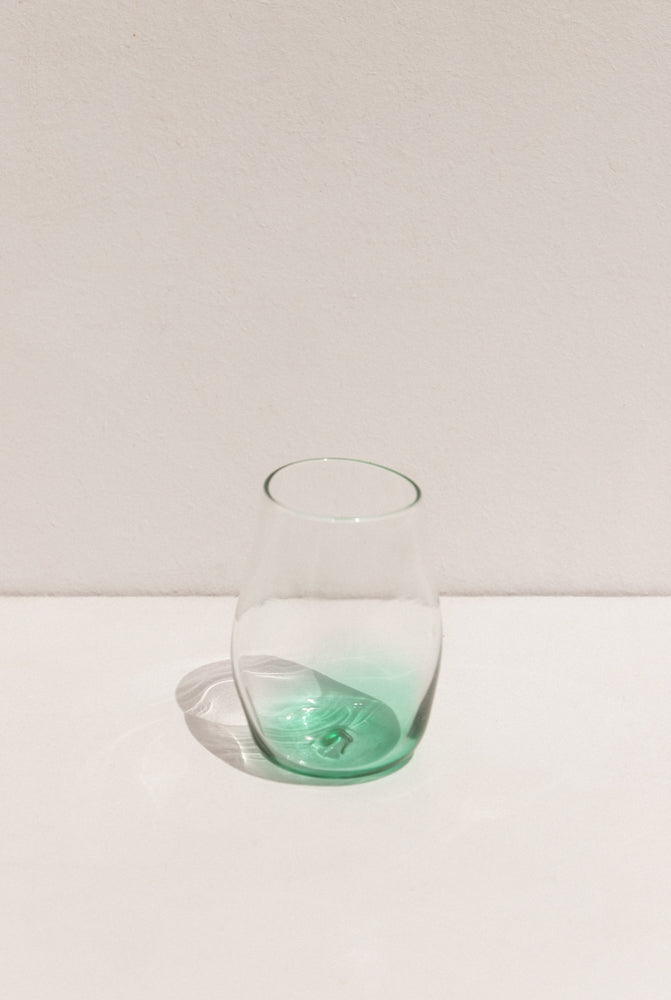 Lope Home emerald coloured glass tumbler on Maker's Mrkt Melbourne