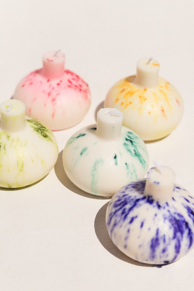 Indigo speckle Blazed Wax Splatter bomb candle on Makers' Mrkt, Makers Market Melbourne