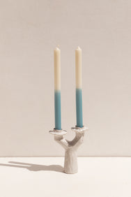 Kerryn Levy handbuilt ceramic Lumena candle holders in white on Makers' Mrkt Makers market Melbourne